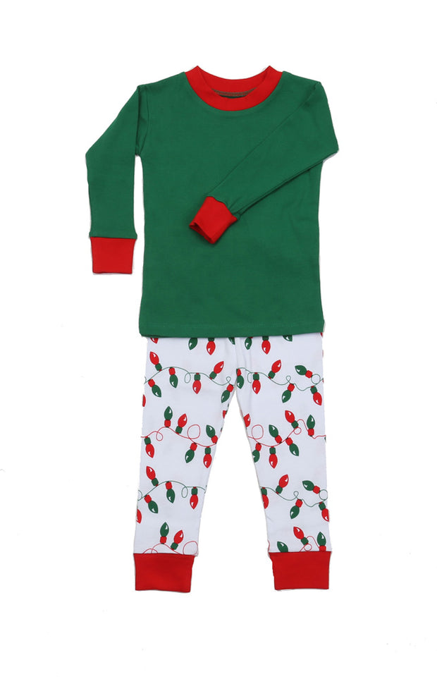 Christmas Lights Solid Top Pajamas PERSONALIZED