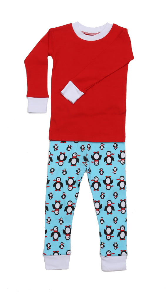 Poised Penguins Solid Top Pajamas