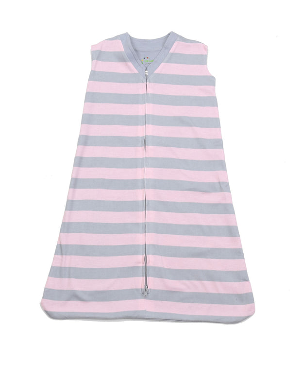 Classic Stripes Pink/Grey Organic Wearable Blanket