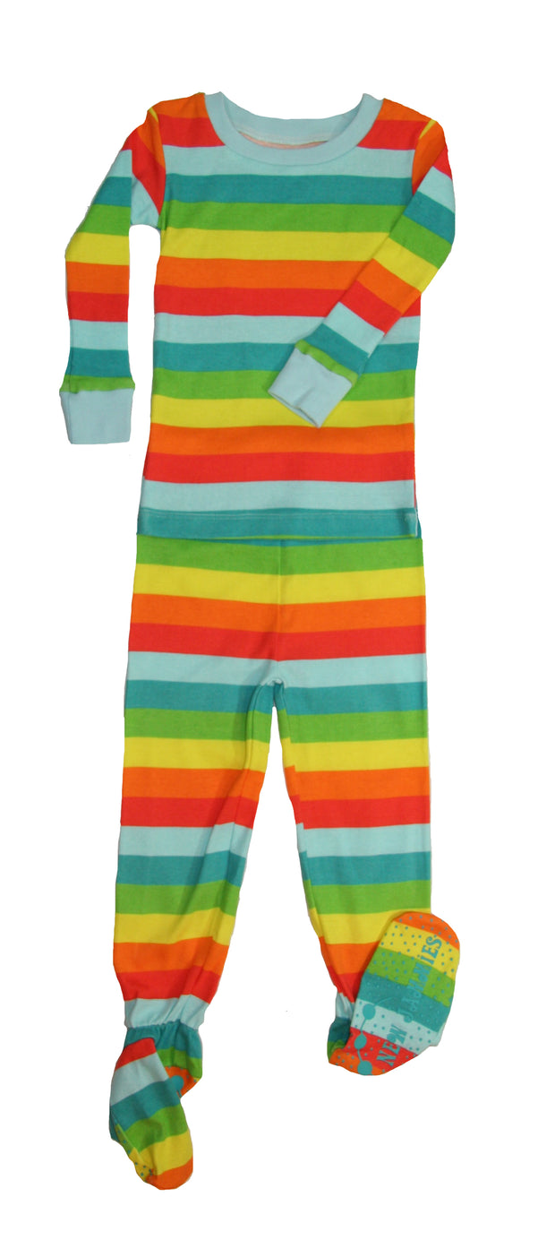 Rainbow Stripes Organic Cotton Footed PJ Set