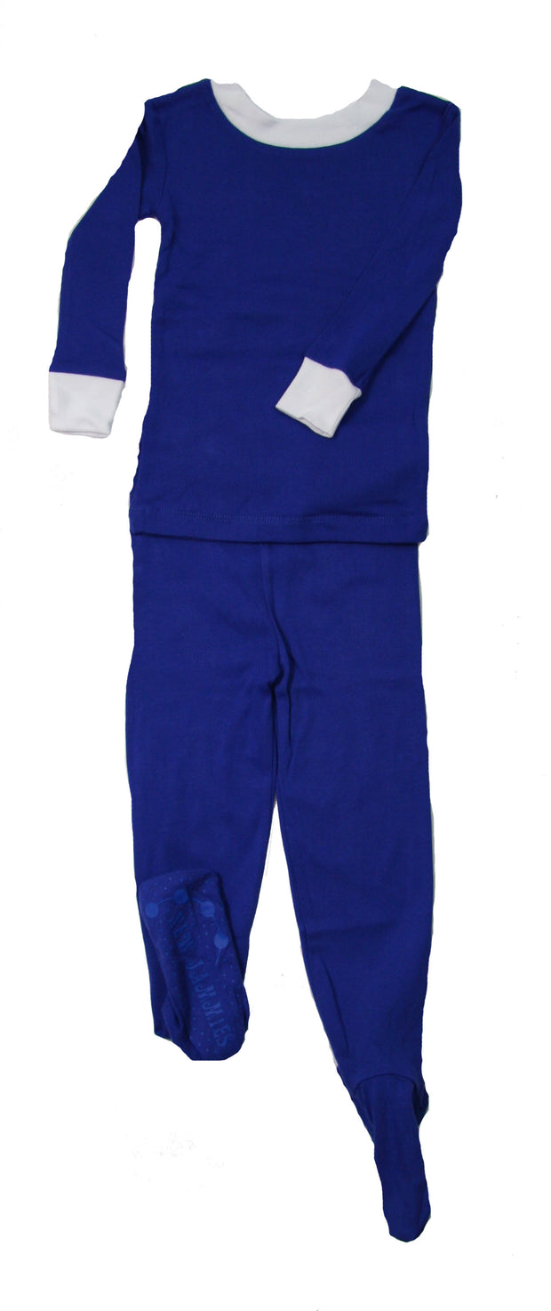 Simply Solids Navy Organic Cotton Footed PJ Set