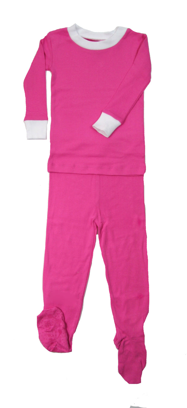 Simply Solids Fuschia Organic Cotton Footed PJ Set