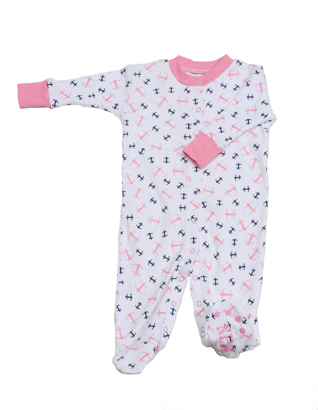 Anchors Aweigh Pink Organic Footie