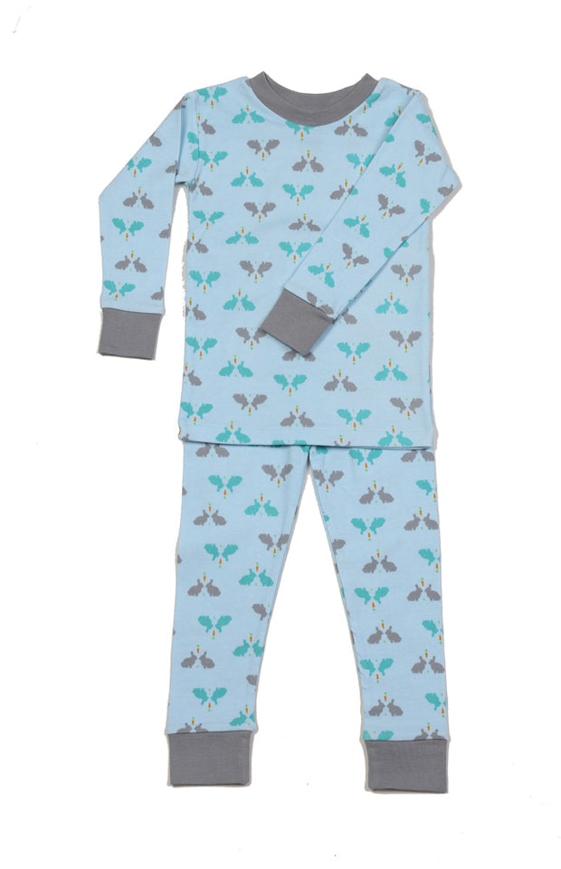 Bunnies N'Carrot Blue Pajamas