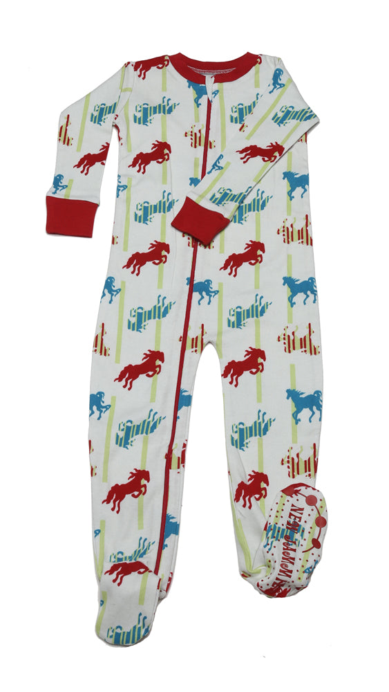 Horses N'Stripes Natural Toddler Footie