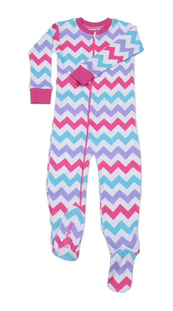Chevron Organic Toddler Footie