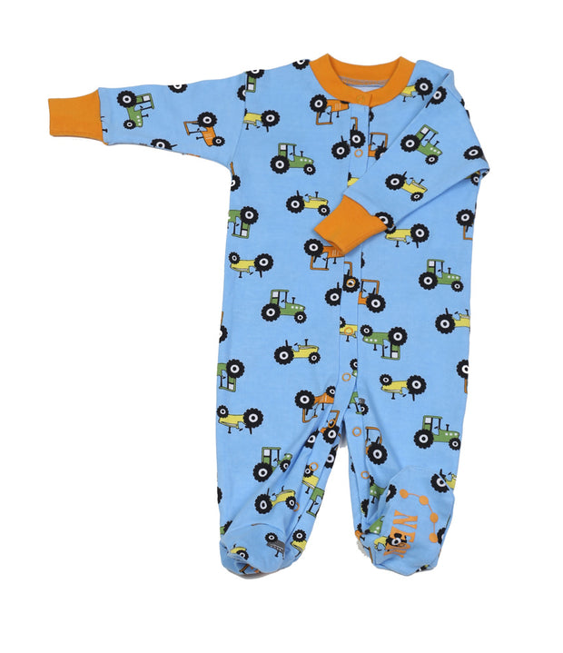 Tractors Organic Cotton Footie