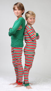 Christmas Stripes Solid Top Pajamas