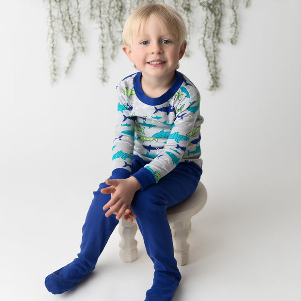 Sharks Organic Cotton Footed PJ Set