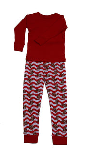 Gingerbread Waves Solid Top Pajamas