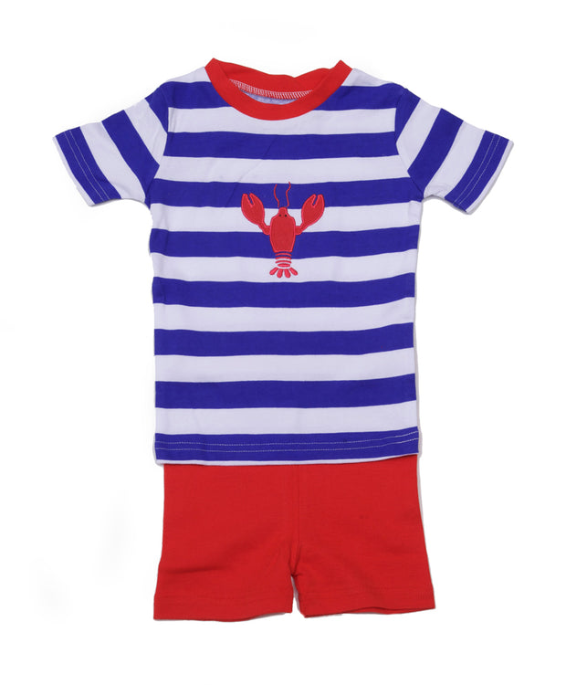 Lobster Stripes Boys PJ Short Set