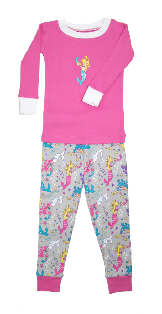 Mermaid Applique Organic Cotton Pajamas
