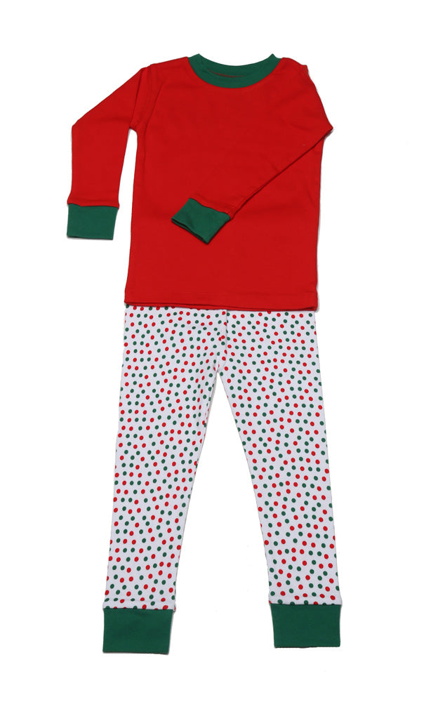 Christmas Dots Solid Top Organic Pajamas
