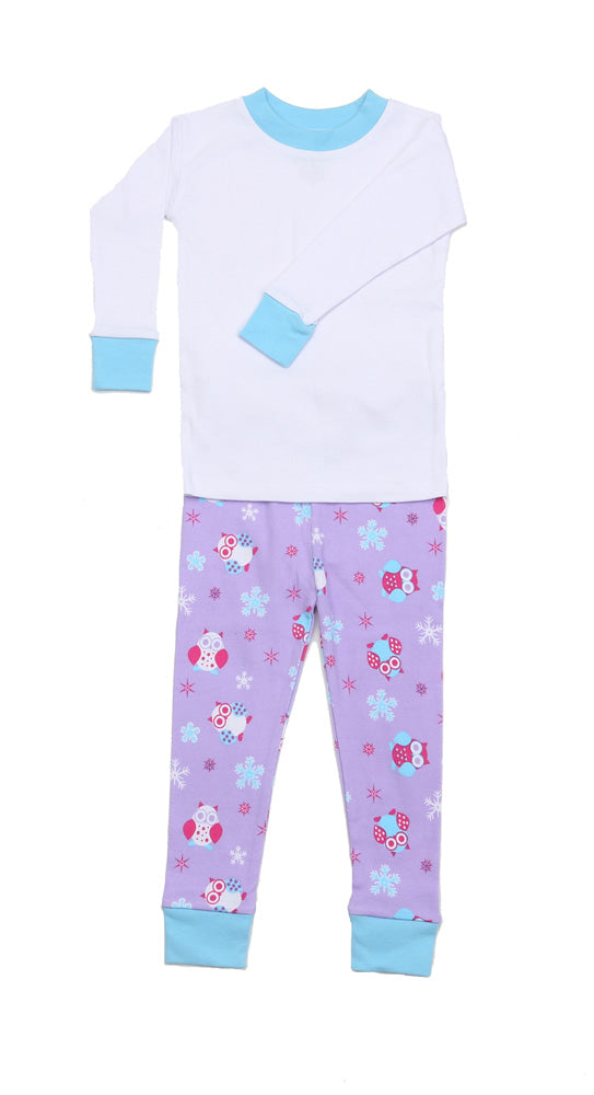 Snow Owls Lavender Solid Top Pajamas