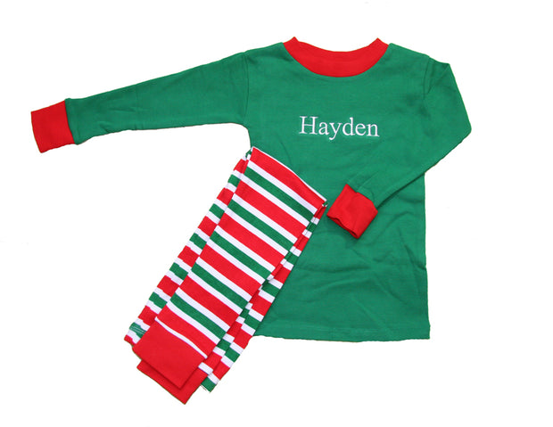 Christmas Stripes PERSONALIZED Pajamas