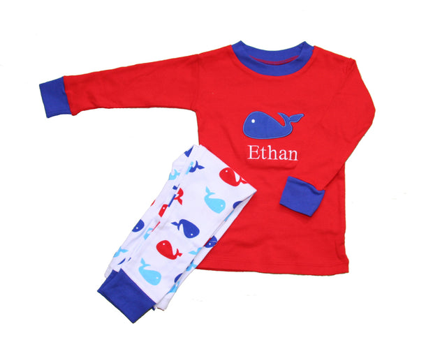 Whales Blue PERSONALIZED Organic Pajamas