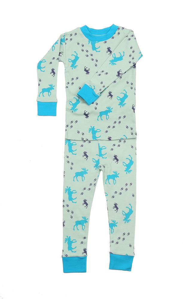 Moose Tracks Sage Organic Cotton Pajamas