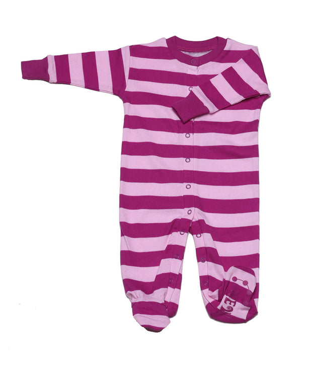 Classic Stripe Organic Footie Mulberry