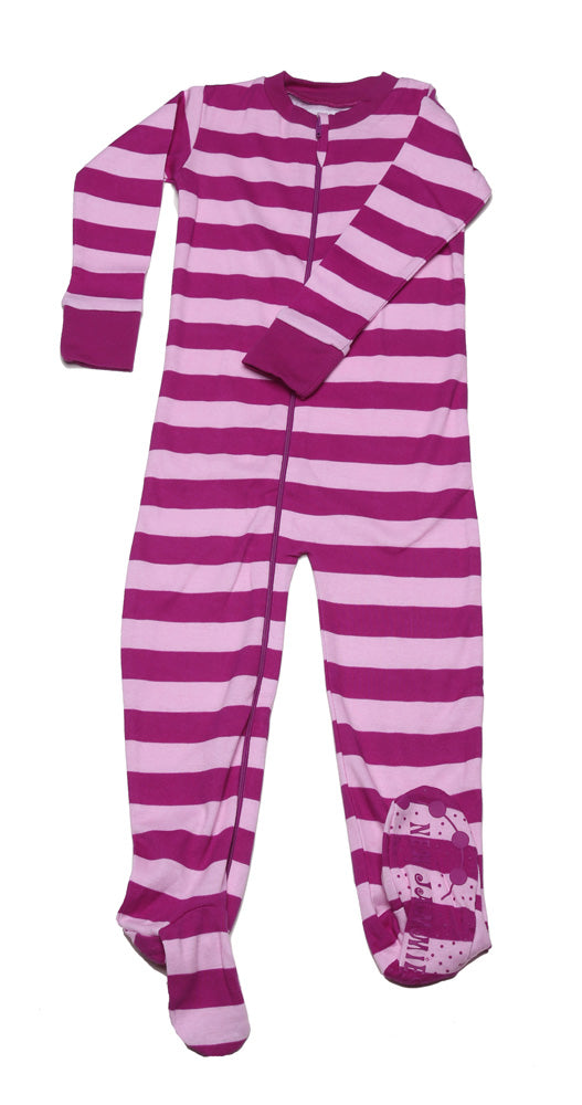 Classic Stripes Toddler Footie Mulberry