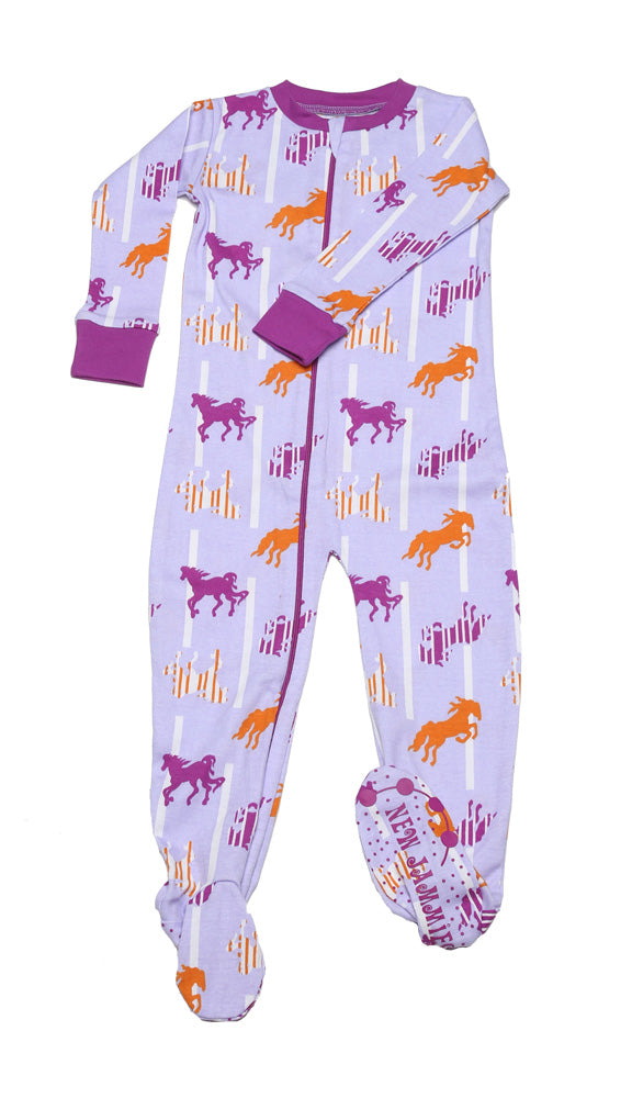 Horses N'Stripes Lavender Toddler Footie