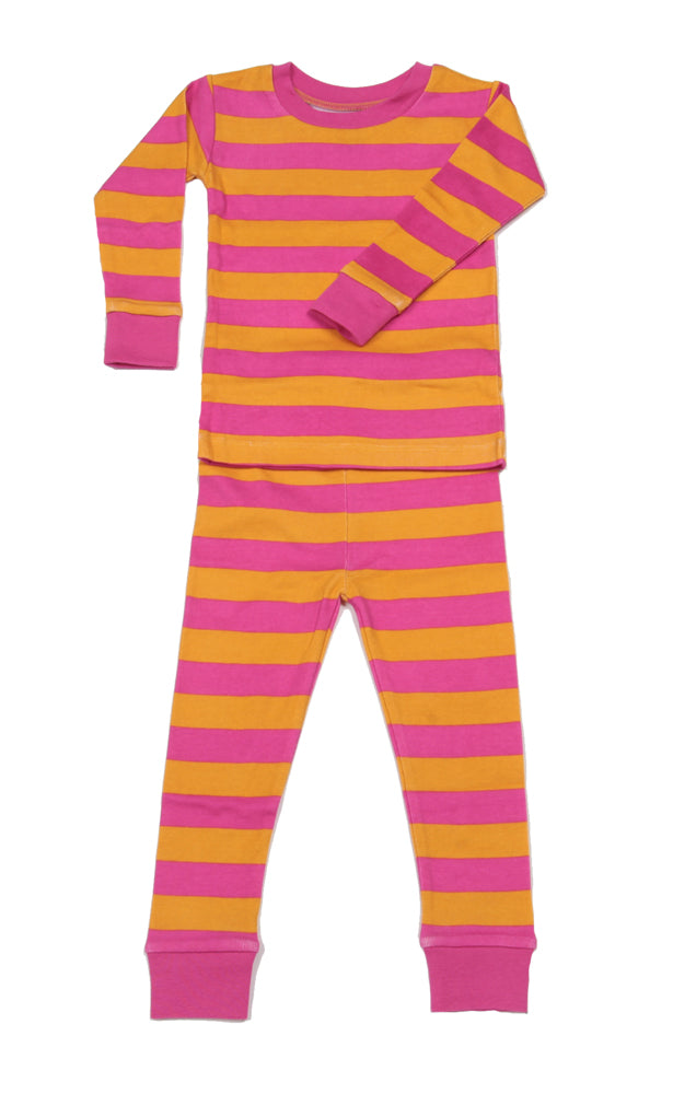 Classic Stripes Organic Pajamas Pink/Orange