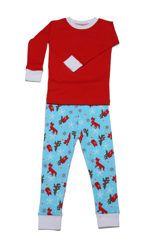 Winter Fox Organic Solid Top Pajamas