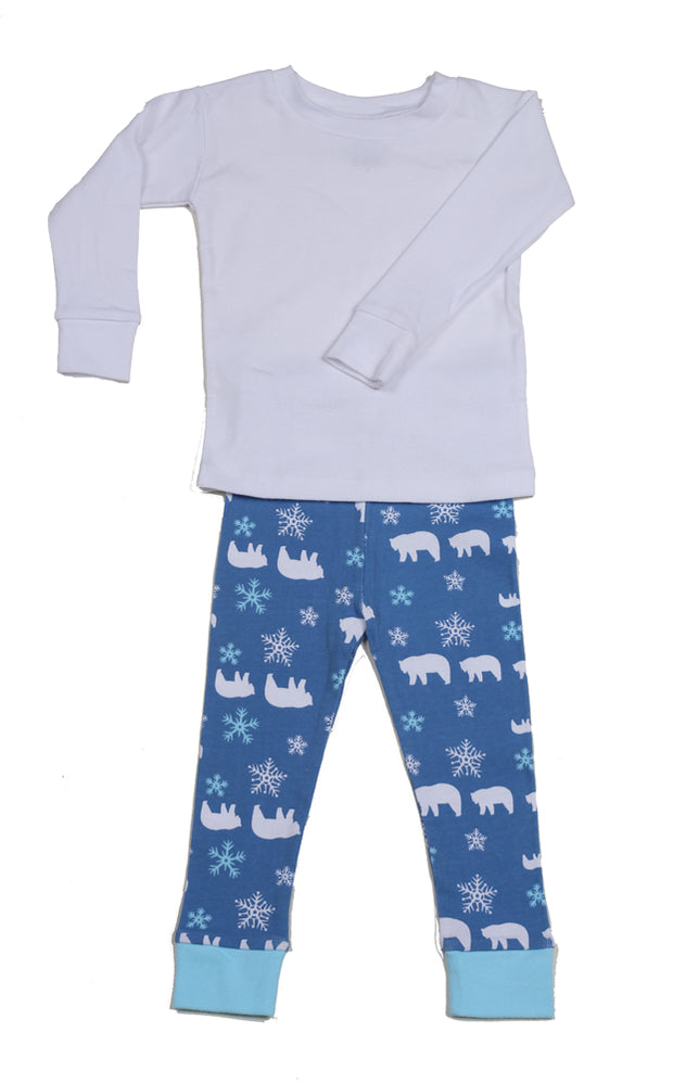 Polar Bear White Top Organic Pajamas
