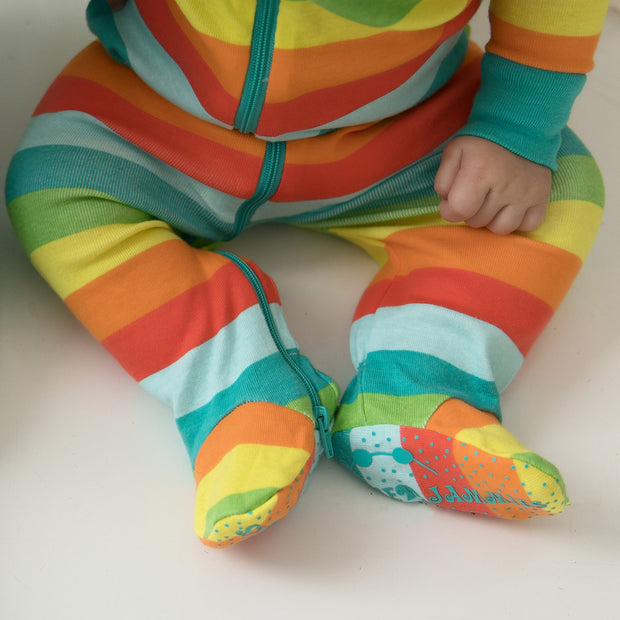 Rainbow Stripes DOUBLE ZIP Organic Cotton Footie
