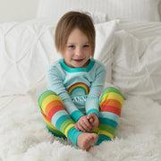 Rainbow Stripes PERSONALIZED Organic Cotton Pajamas