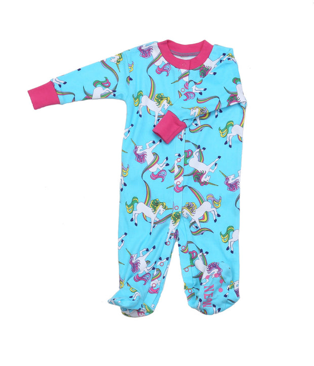 Rainbow Unicorns Blue Organic Footie