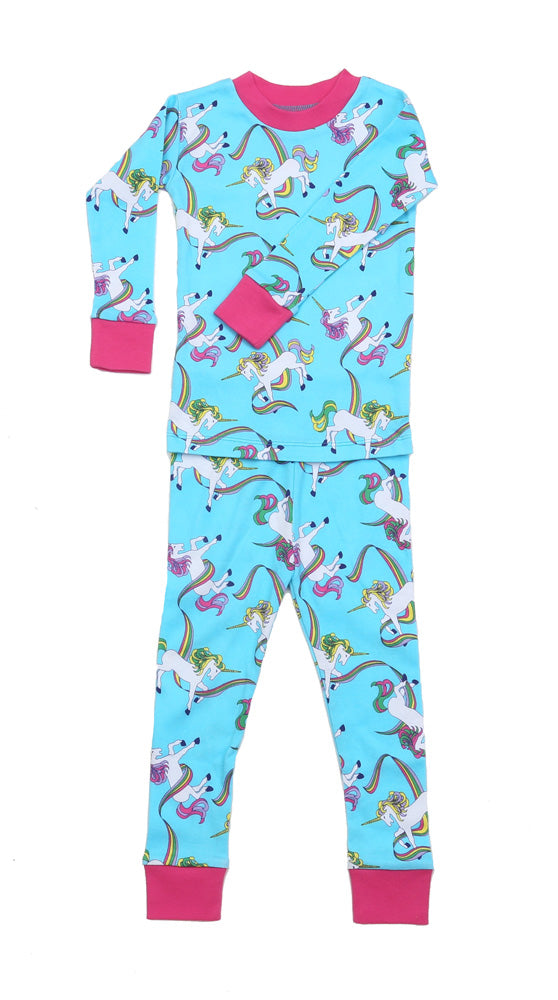Rainbow Unicorns Blue Organic Cotton Pajamas