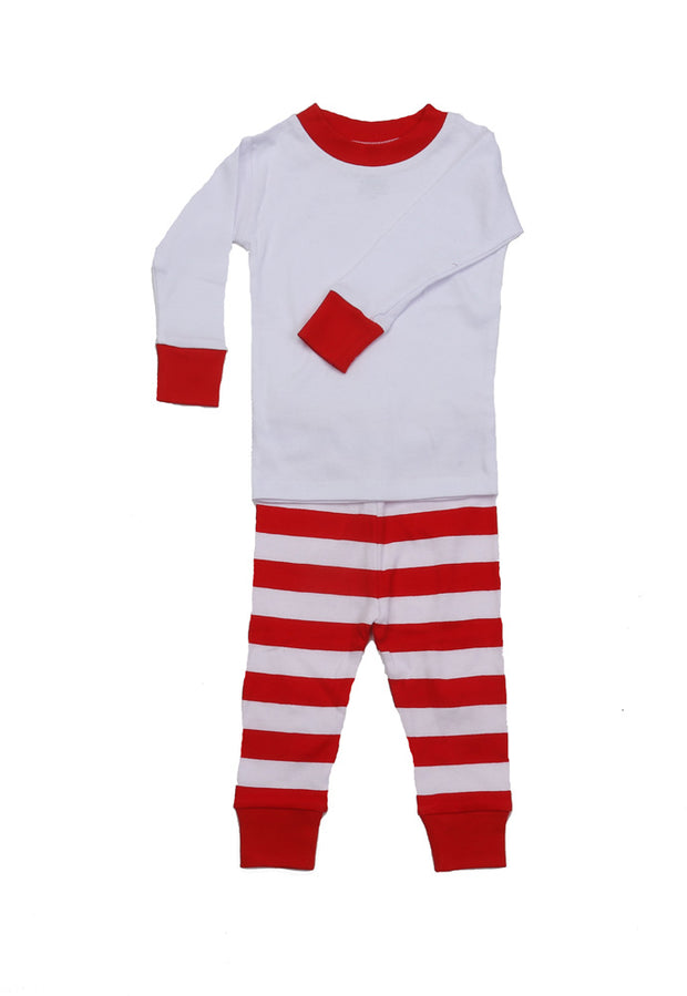 Classic Stripe White PERSONALIZED PJ Red/White