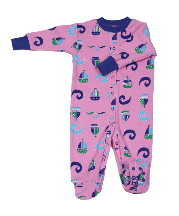 Sailboat N'Waves Girls Organic Footie
