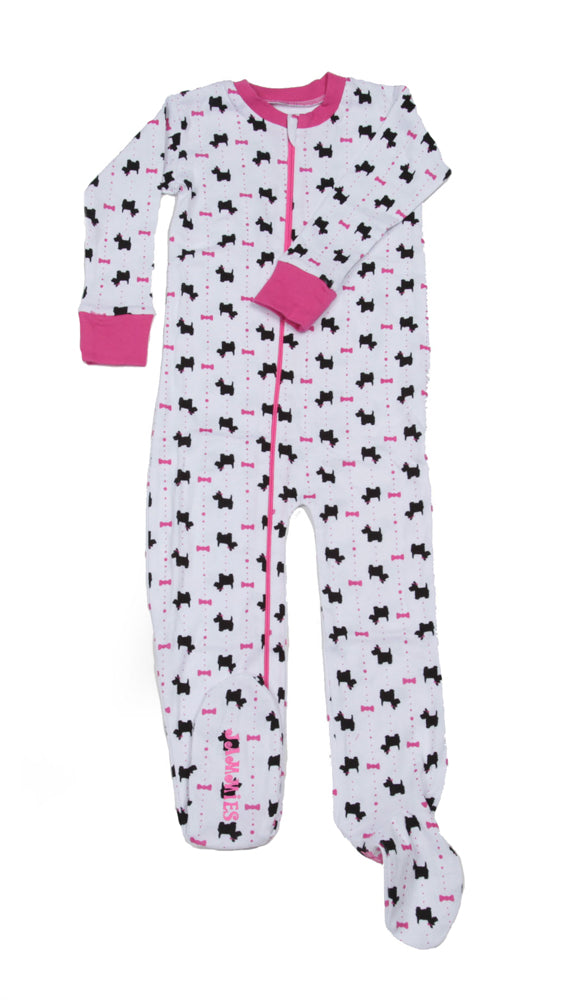 Scotties and Bows Toddler Footie