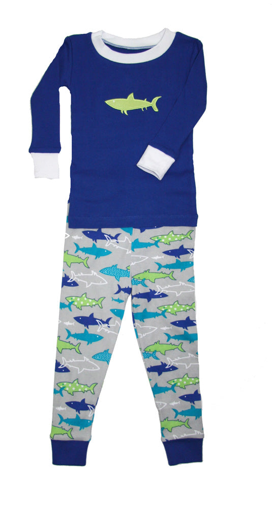 Sharks Applique Organic Cotton Pajamas