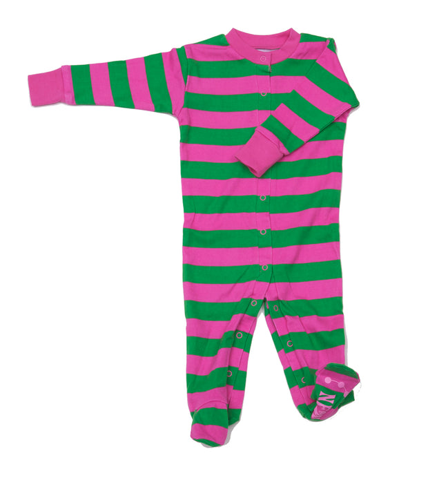 Classic Stripe Organic Footie Pink/Kelly Green