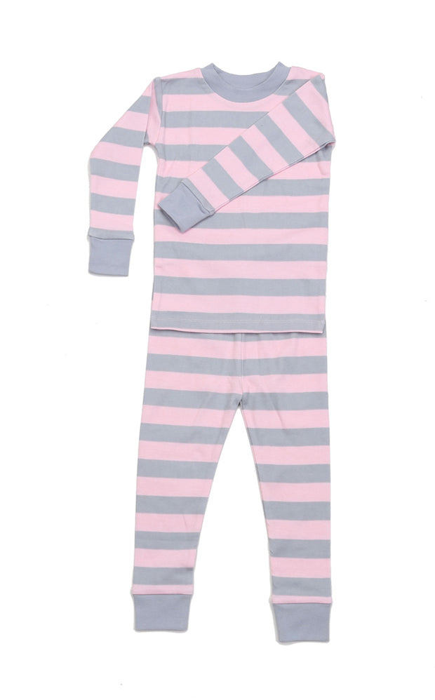 Classic Stripes Organic Cotton Pajamas Pink/Grey