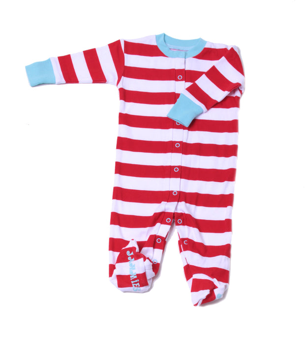 Classic Stripe Organic Footie Red/Wh/Bl