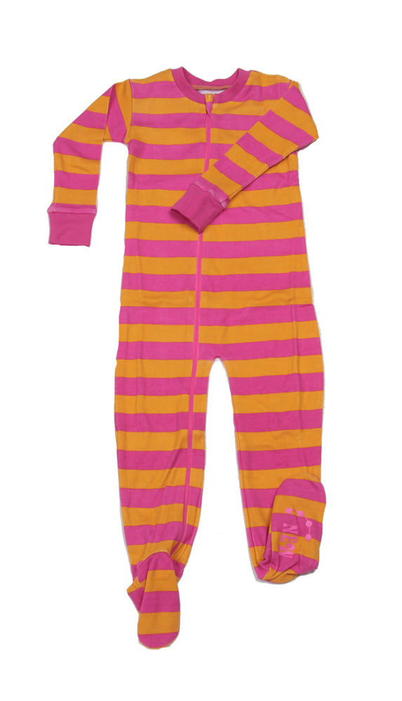 Classic Stripes Toddler Footie Pink/Orange