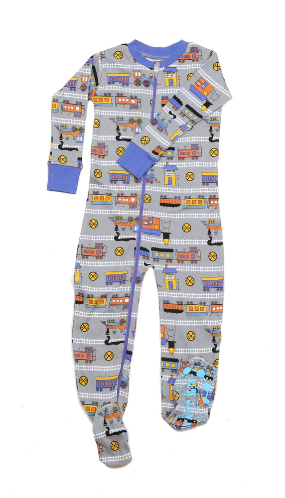 Trains Grey Toddler Footie