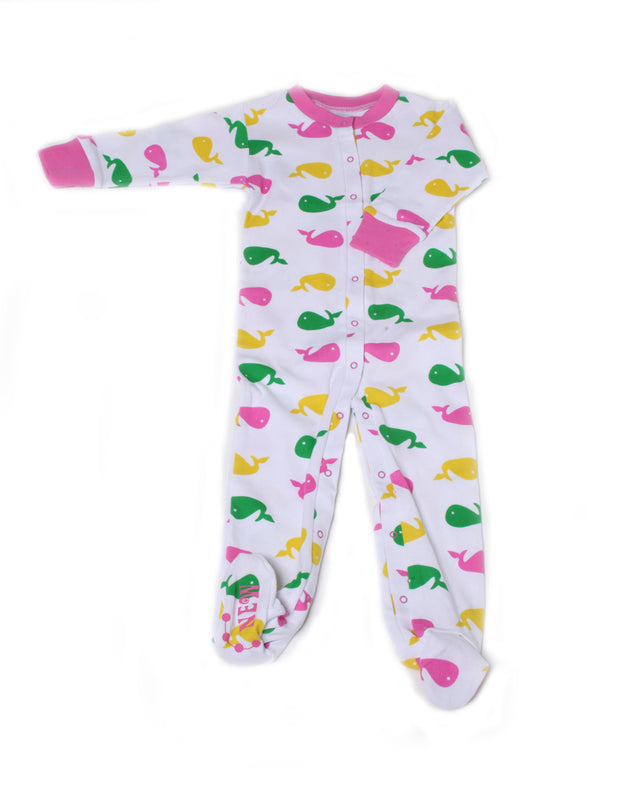 Whales Organic Cotton Footie Pink