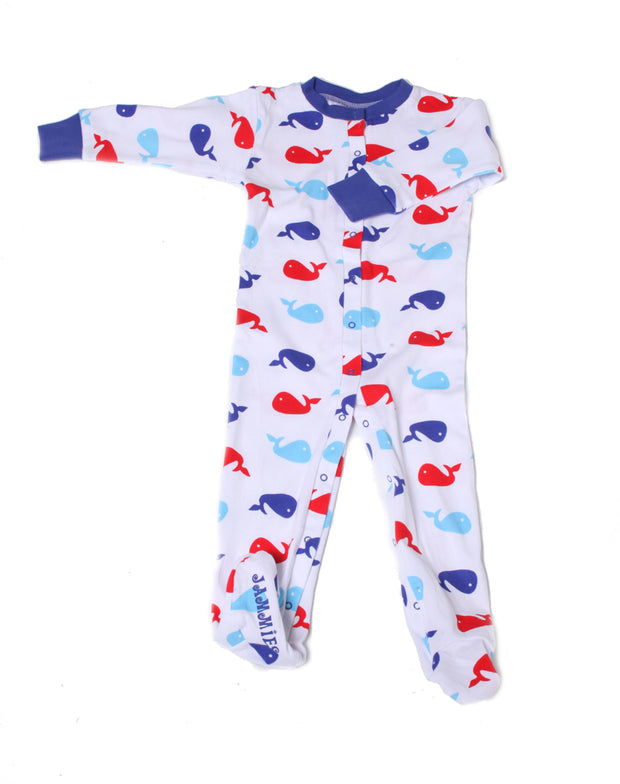 Whales Organic Cotton Footie Blue