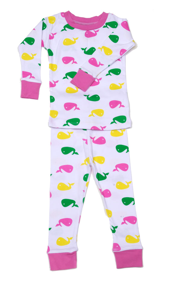 Whale Organic Cotton Pajamas Pink