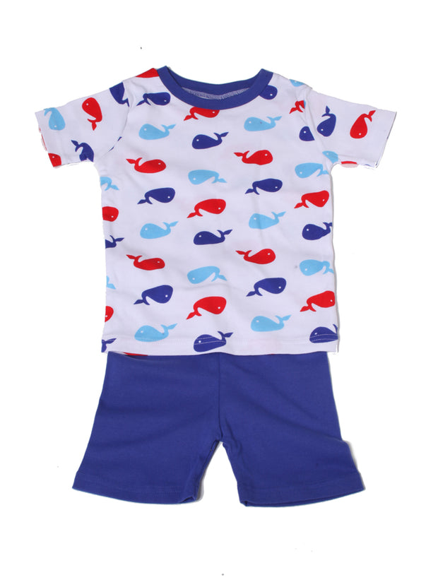 Whale PJ Short Set Blue