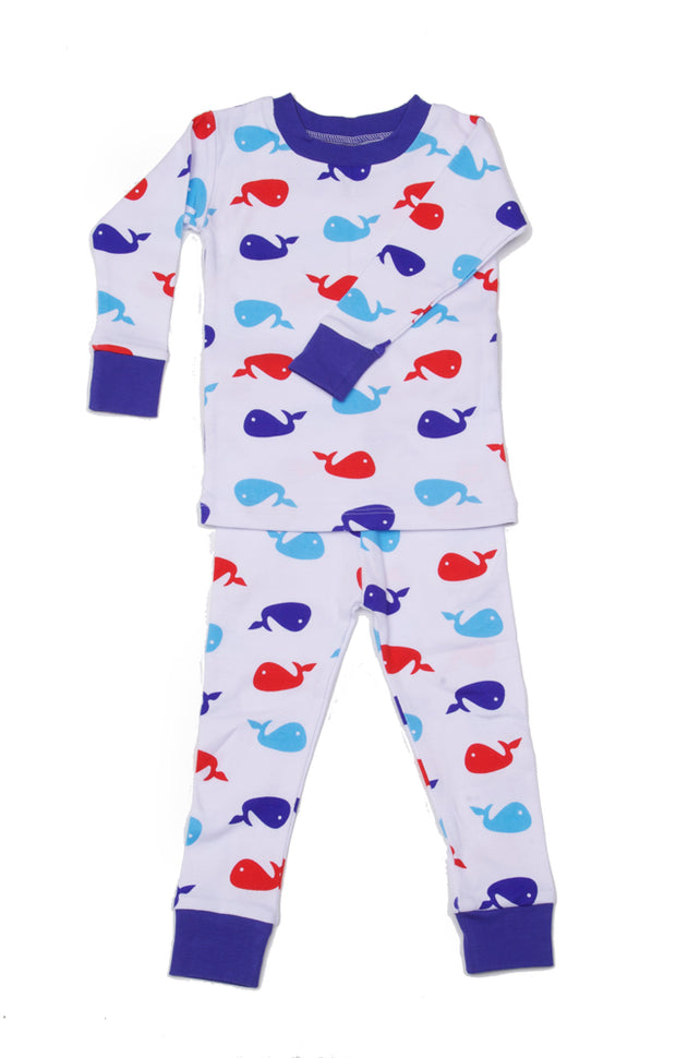 Whales Organic Cotton Pajamas Blue