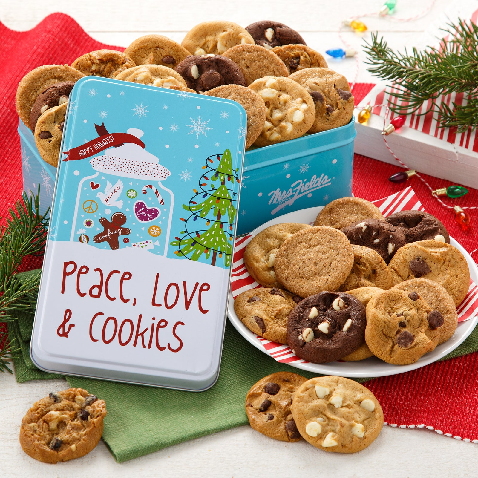 Mrs. Fields Peace, Love & Cookies  30 Nibblers® Bite-Sized Cookies Tin