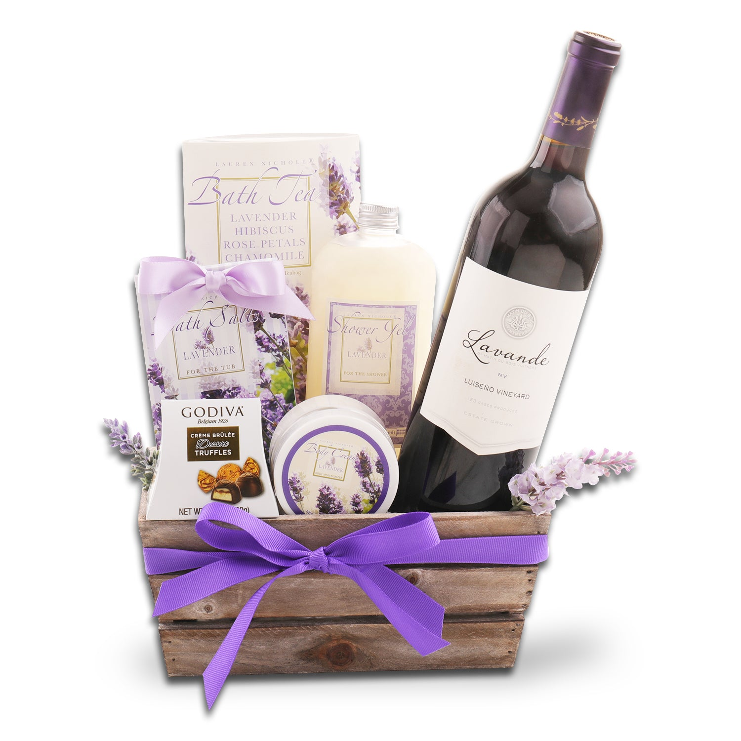 Lavender Spa and Red Wine Gift Basket
