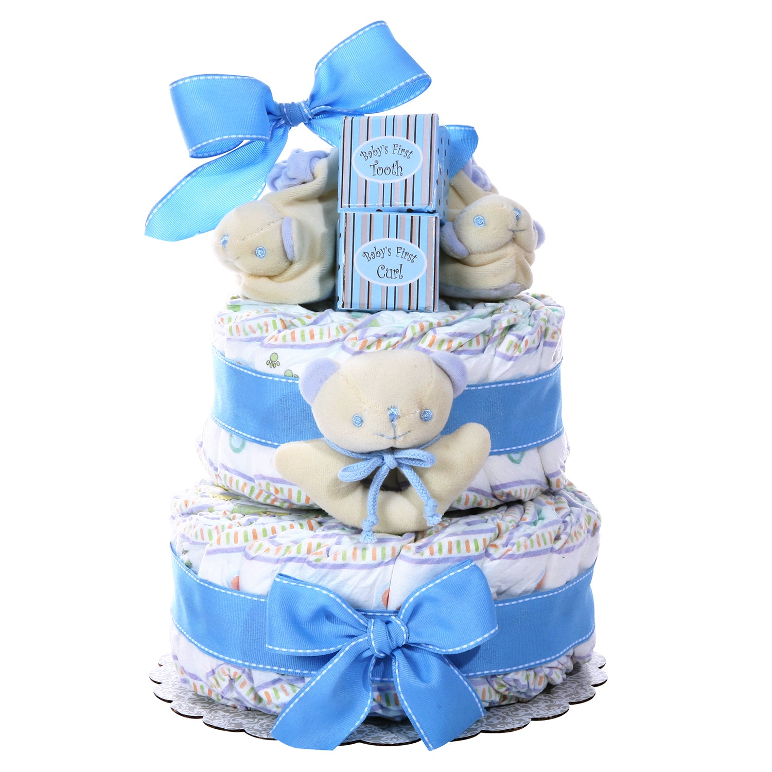 Two-Tier Diaper Cake - Boy's Baby Gift