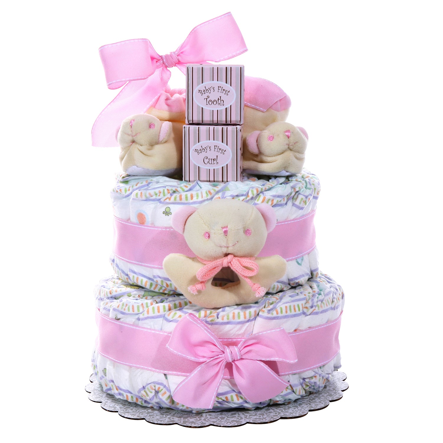 Two-Tier Diaper Cake - Girl's Baby Gift