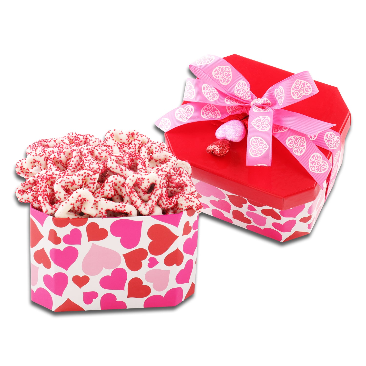Chocolate Dipped Heart Shaped Pretzels Gift
